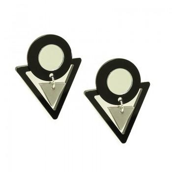 Pendientes Geométricos Triángulos Silver Night